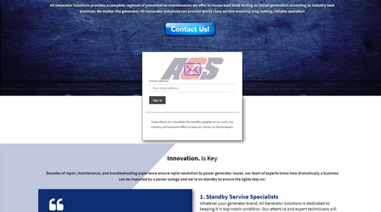 All Generator Solutions (AGS) - Website