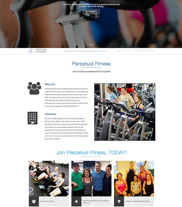 Perpetual Fitness Spruce Grove Website Layout