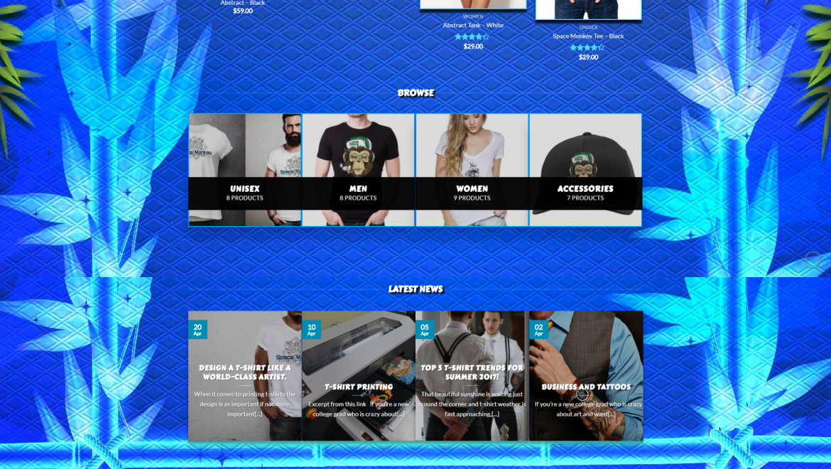 Space Monkey Clothing Company Homepage Design
