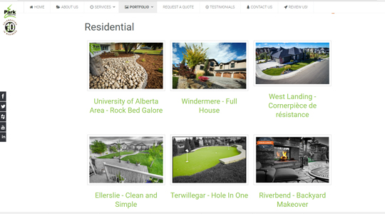 Park Landscaping Website Design