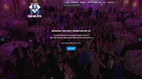 Party Music Dj Web Design Kelowna