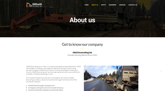 HD&D Excavating Web Design