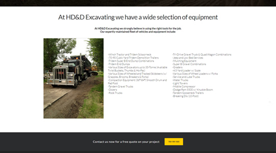 HD&D Excavating Construction Website Design Sherwood Park