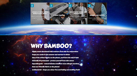 Space Monkey Clothing Company Web Design Layout