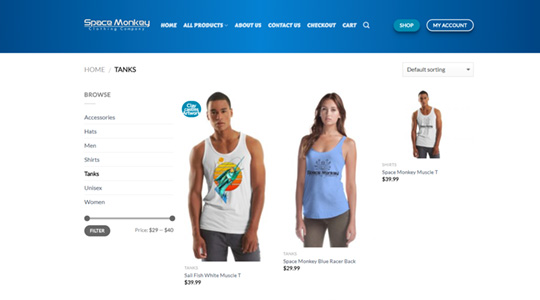 Space-Monkey Clothing Company Ecommerce Website Design
