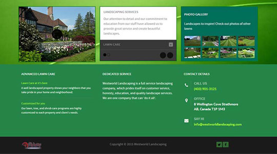 WestWorld Landscaping Web Design Layout