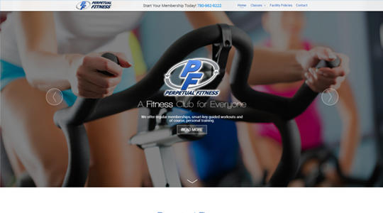 Perpetual Fitness Website Design
