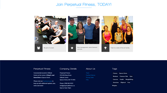 Perpetual Fitness Spruce Grove Web Design