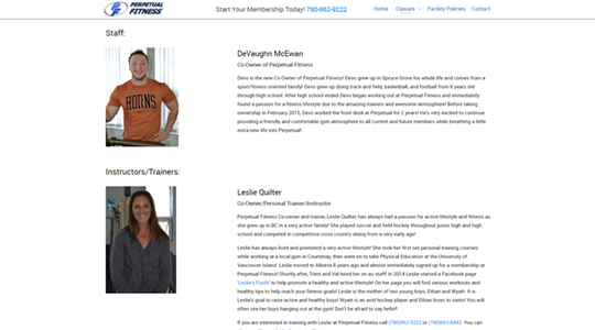 Perpetual Fitness Website Design